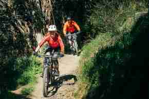 Te Ara a Rangituhi Reserve_couple biking downhill trail