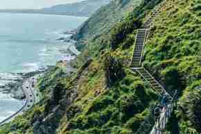 Te Araroa Paekakariki Escarpment Walk_women walking on the swing bridge with stunning view
