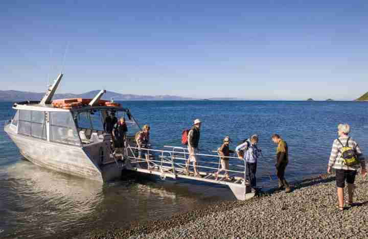 Kapiti Island boat Visitors arriving to the island